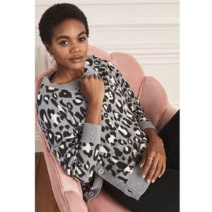 Stella & Dot Button Side Leopard Print Sweater